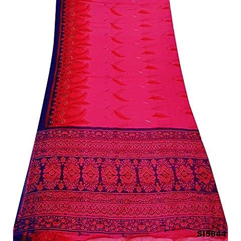 Sari Indio De La Vendimia Floral Mezcla De Seda Impresa Cortina Diseño De Materiales De Plumas Utilizado Decoración De Color Rosa 5Yd Sari