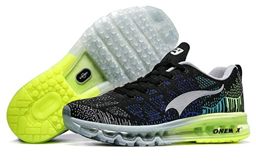 ONEMIX Air Scarpe da Ginnastica Basse Uomo Sportive Running Sneaker Nero / Grigio