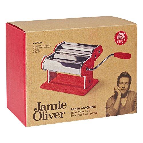 Jamie Oliver, 500964, Pasta Maker-Nudelmaschine, Edelstahl, Rot