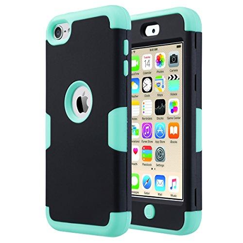 iPod Touch 5 caso, Ulak iPod Touch 6 Funda híbrido Case 3 capa de silicona rígida PC Shell cubierta del estuche rígido para iPod Touch 5? / 6? Generación (K-Negro + Verde)