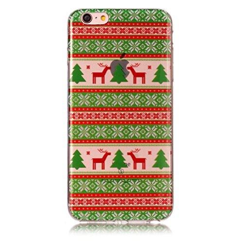 iPhone 6 / iPhone 6s 4.7 inch Hülle, CaseFirst Weihnachten Serie Ultra dünn Anstrich Fall Transparent Weiches TPU Weihnachten Schutz Handy-Tasche Hülle (Branch Elk) Tribes Elk
