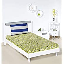 Amazon Brand - Solimo Bubble Bounty 144 TC 100% Cotton Single Bedsheet with 1 Pillow Covers, Green