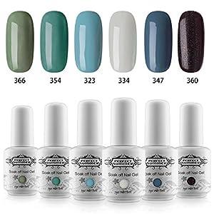 Kit Vernis Gel Semi Permanent - Perfect Summer Soak Off UV Vernis à Ongles Gel Nail Polish Manucure 6 Couleurs x 8ml Vet Lot 49