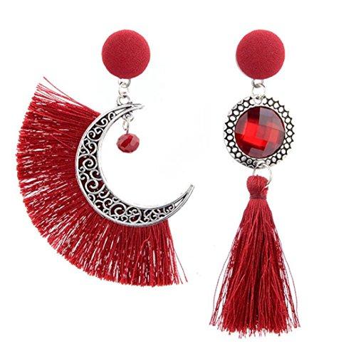 Bluestercool donne traforato sole e luna cristallo gland orecchini, rosso, 9 * 2.3cm