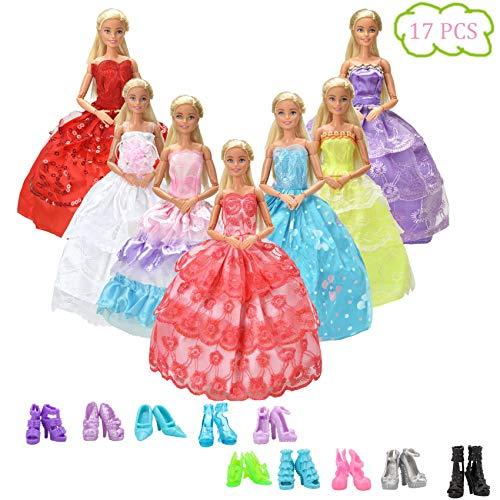 WENTS Kleidung zubehör Set 7 Stück Puppenkleidung Partei-Kleid Outfits und 10 Paar Schuhe Accessoires für Barbie Puppen Geburtstag Party für Mädchen - Geburtstag-party Puppe