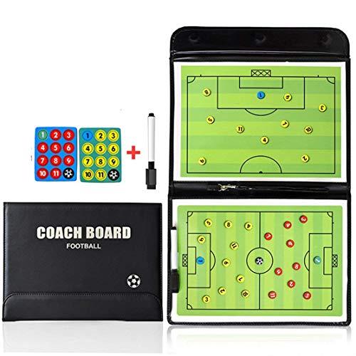 RoseFlower Trainer Taktikmappe Fussball, Professional Faltbares Fußball Taktikmappe Taktiktafel Coach-Board mit Magnete, Stifte und Radiergummi (Größe: 53cm x 31cm)