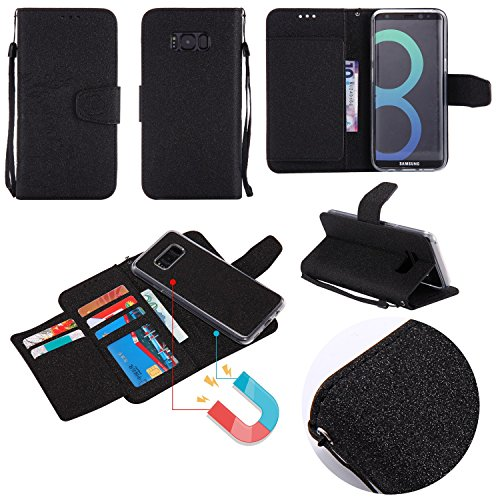Detchable 2 in 1 PU + TPU Ledertasche geprägt Blumen Stil glänzende Scheine Brieftasche Stand Case Cover mit Kreditkarte Slots & Lanyard & Magnetic Closure für Samsung Galaxy S8 Plus ( Color : Black ) Black