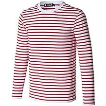 sourcingmap Allegra K Camiseta Para Hombres Cuello Redondo Mangas Largas Estampado de Rayas