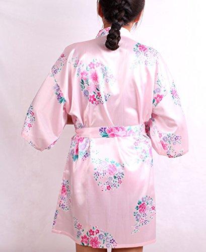 ACVIP Femmes Robe de Nuit Imprimé Fleur Modèle Soie Artificielle, Peignoir Cardigan Court, 4 Couleurs Rose