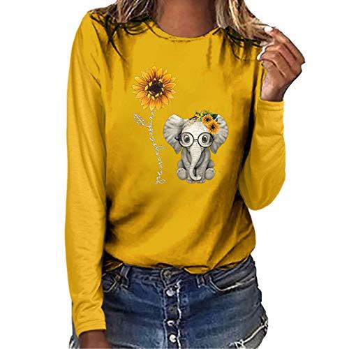 LILIGOD Langarmshirt Damenmode Langarm T-Shirt Plus Size Rundhals Bluse Tops Lange Hülsen Beiläufige Oberteil Wild Bequem Basis Oberteile Lose Größe T-Shirt Pullover