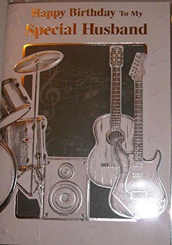 Speciale marito-Biglietto di auguri chitarre, tamburi & speakers-impreziosito sul davanti - Teenager Gift Card