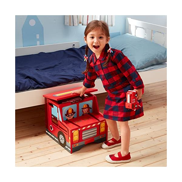 Fantasy Fields - Little Fire Fighters Hand Painted Step Stool with Storage Fantasy Fields By Teamson Lightweight design for easy portability with carry handles either side. dimensions 33.02 x 34.29 x 30.48 cm Top step has a lid that opens up to reveal a handy storage space. perfect for helping your child to reach the sink to brush their teeth. Teach your kids colour and character recognition and enhance their imaginative minds. great for encouraging children's independence 2