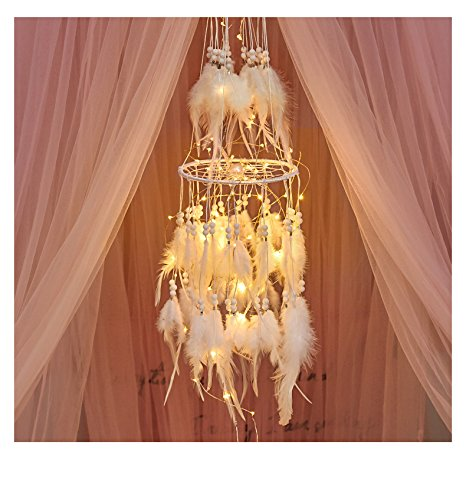 HitTopss - Atrapasueños Luminoso para decoración, Accesorio de Dormitorio de Color Blanco cálido, con Luces LED de Cadena para Colgar atrapasueños