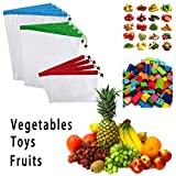 Sumnacon 12Pcs Reusable Produce Storage Bags Washable Mesh Bag Grocery Shopping Bag for Fruit/Vegetable - 3 Various Sizes