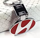 #8: RED Heavy Metal imported key chain key ring with chrome car dual side logo for HYUNDAI i10 i20 Elite Santa Santro Getz Accent Elantra Verna Eon Xcent models