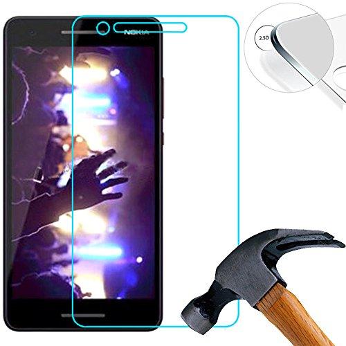 Lusee 2 X Pack Panzerglasfolie für Nokia 2.1 5.5 Zoll Tempered Glass Hartglas Schutzfolie Folie Bildschirmschutz 9H (Nur Den Flachen Teil abdecken)