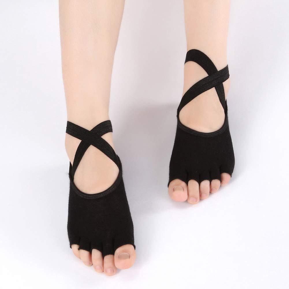 MXYXY Fünf Finger Yoga Socken Frauen Baumwolle Socken Slipback Back Cross Yoga Socken Ballett Tanz Socken Bequem…