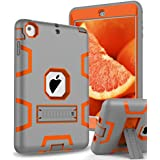 "TOPSKY iPad Mini Case,iPad Mini 2 Case,iPad 3 Case,[Kickstand Feature],Shock-Absorption / High Impact Resistant Hybrid Armor Defender Case For iPad Mini 1/2/3 (Only For iPad Mini 7.9""), Grey-Orange"