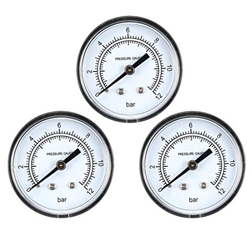 ZCHXD Dry Pressure Gauge, 0-12 Bar Dual Scale, 2