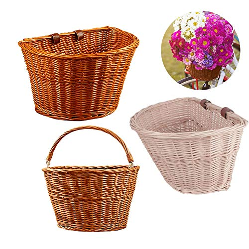 Sue Supply - Wicker Bicycle Handlebar Basket, Handmade, Primary Color Natural Cargo Basket, Women's Bicycle Baskets, Bicycle Basket, Front Accessories