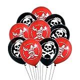 Oblique Unique Piraten Luftballon Set mit Totenkopf Ballons für Kinder Geburtstag Motto Party Feier Spielen Schwarz Rot Weiß