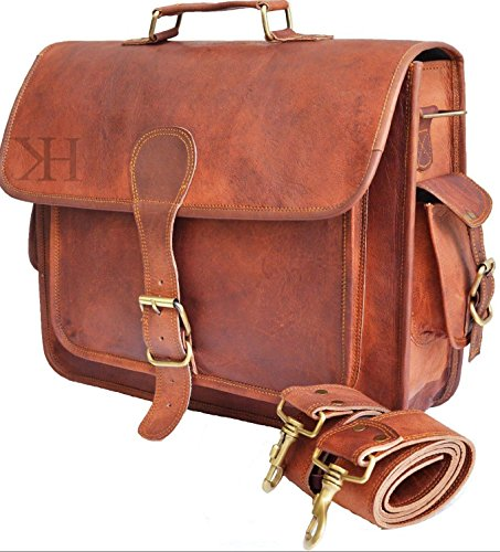 Laptoptasche aus Leder, Vintagedesign, Messengertasche, handgefertigte Aktentasche, Umhängetasche, Schultertasche (Pocket Leder Front Satchel)