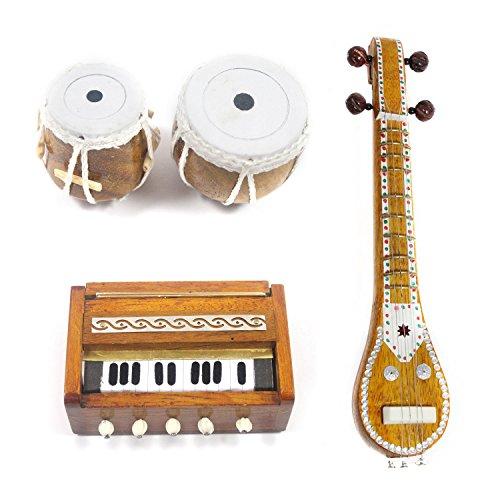 Handmade Miniature Wooden Veena, Tabla Set, Harmonium (3 Set Fridge Magnets) / Handmade Authentic Classical Indian Music Instrument  available at amazon for Rs.1599