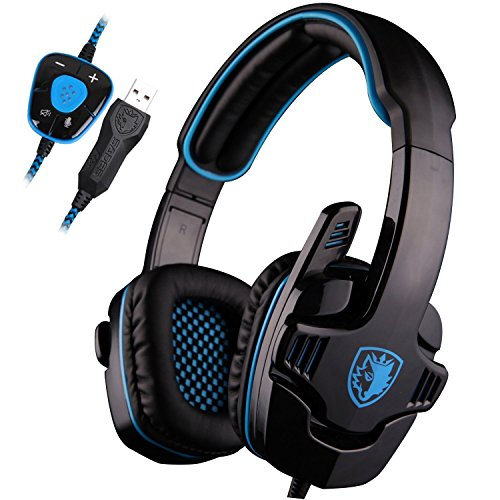 ENVEL SADES SA901 7.1 Surround Sound Stereo Pro PC USB Gaming Headsets Kopfbügel Kopfhörer mit Mikrofon Deep Bass Over-Ear-Lautstärkeregler für PC Gamer (Schwarz & Blau) -