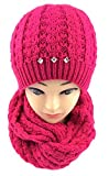 NB24 Winterset (6347a), Loop Schal + Mütze (doppellagig, eng anliegend), pink, grob gestrickt, Mütze + Schal für Damen, Loop, Loopschal, Damenmode Damenbekleidung
