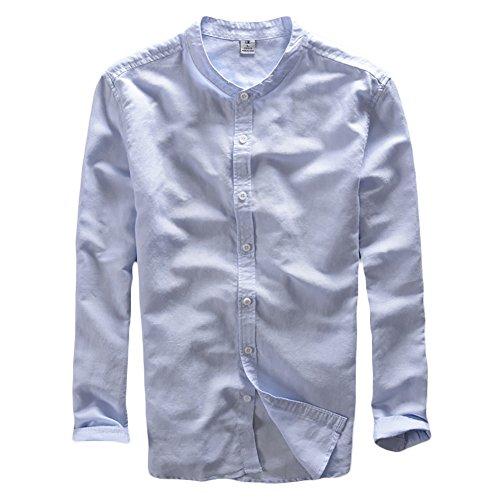 Icegrey camicia uomo con collo coreana camicie di lino a maniche lunghe colore solido camicie da spiaggia profondo blu 48