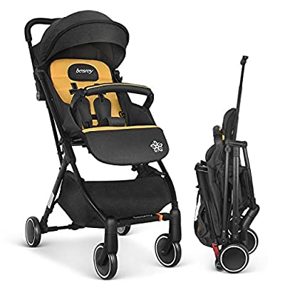 Besrey Lightweight Stroller Compact Pushchair Lightweight Recline Buggy for Airplane, Ultra Lightweight Baby Stroller with Handle When Folding
