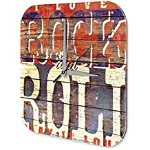 Reloj De Pared DiversiÛn Decoracion Marke Rock and Roll Plexiglas Imprimido 25x25 cm