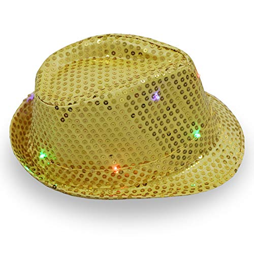 Jazz Kostüm Party - CHuangQi LED-Fedora-Hut, Leuchtend, leuchtende Pailletten, Jazz-Cap, Unisex, Erwachsene, Party, Kostüm-Zubehör