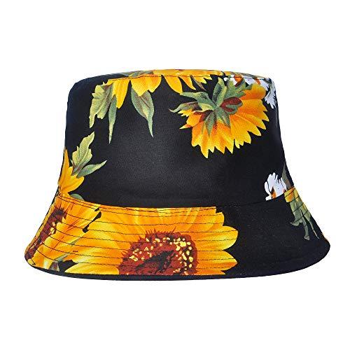 ZLYC Unisex Blumen Pflanze Regenwald-Druck Leinwand Sonnenhut Strandhut Fishermütze (Sonnenblume Schwarz) -