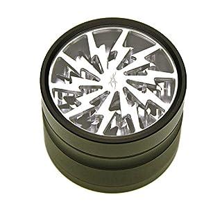 Grinder mit Reinigungs-Set: After Grow Thorinder schwarz-silber - Siebgrinder mit transparentem Deckel - 4 Teile, 6,2 cm Durchmesser - head&nature Smoke Shop