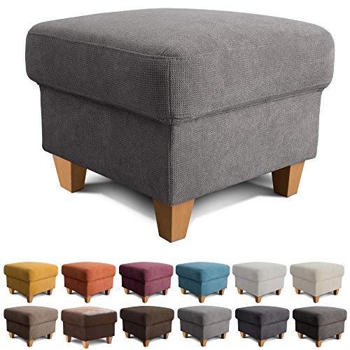 Cavadore Hocker Finja / Polsterhocker im modernen Landhausstil / Fußbank für's Wohnzimmer passend zum Sessel Finja / 59 x 47 x 59 / Webstoff Grau