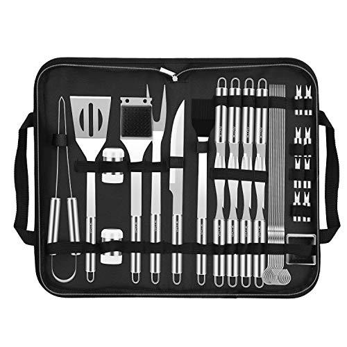 VPCOK Ustensiles Barbecue kit Barbecue avec Brosse Nettoyage 33 pièces Accessoires Barbecue Portables en Acier Inoxydable pour Grillades