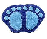 JTC Füße Muster Badematte Badeteppich Duschvorlage (Blau)