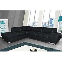 JUSThome Porto Sofá esquinero chaise longue función de Cama Sofá-Cama Tejido estructural Tamaño: 73x278x216 cm Negro Brazo derecho