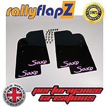 rallyflapZ Guardabarros para Citroen Saxo (1996-2003) Cantidad 4 Negro Guardafangos Logo Pastel Rosa (4mm PVC)