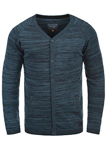 Blend Samuel Herren Strickjacke Cardigan Feinstrick Mit V-Ausschnitt und Knopfleiste Aus 100% Baumwolle, Größe:L, Farbe:Navy (70230)