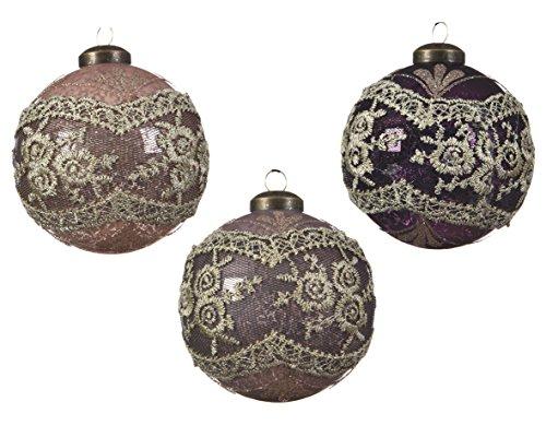 Set di 3tradizionale stile vittoriano, decorazioni per albero di natale in vetro soffiato a mano–dusky rose rosa e viola con dettaglio in pizzo antico–8cm