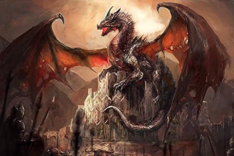Dragons Papier Peint Photo/Poster Autocollant - Château Conquis Par Un Dragon (180 x 120 cm)