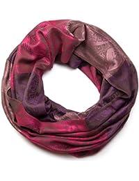 styleBREAKER Blumen, Hibiskus Blüten, Paisley Muster, Loop Schlauchschal, warme und weiche Qualität, Schal, Damen 01018058