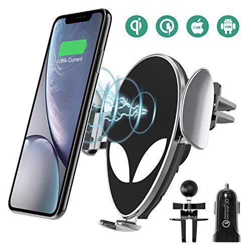 Handyhalterung Auto, Chesbung 2 in 1 Autohalterung/QI Ladegerät, schnurlos mit Schnellladefunktion und Soft-Touch-Sensor für iPhone, Samsung, Huawei, Google & LG Handys