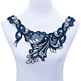 #5: iDream Lace Applique Neck Neckline Collar Venise Lace Trim for Embroidery DIY Sewing Crafts (Blue)