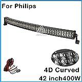 Philips - Barra de luz led 4D curvada, 106 cm, 400W, 12V para techo de coche, 4x4, Jeep