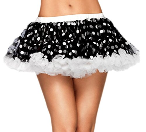 Damen Kostüme Dance Crazy (erdbeerloft - Damen Petticoat Tüll Punkte Polka Dots, S-M, Schwarz)