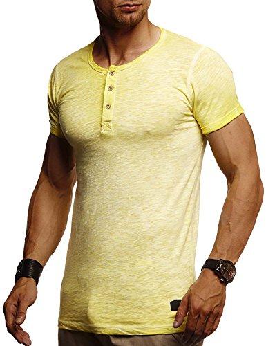 Leif Nelson Herren Sommer T-Shirt Rundhals-Ausschnitt Slim Fit Baumwolle-Anteil Moderner Männer T-Shirt Crew Neck Hoodie-Sweatshirt Kurzarm lang LN8226 Gelb Medium