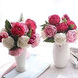 HUHU833 1 Strauß von 6 künstliche Pfingstrose Künstliche Blumen Sträuße Blume für Dekoration Wohnaccessoires & Deko (Bunt)